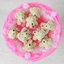 Плюшевый букет (9 мишек, розовый)