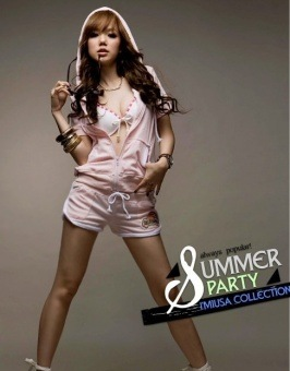Fashion Hooded Short Sleeve Suit Pink фото.