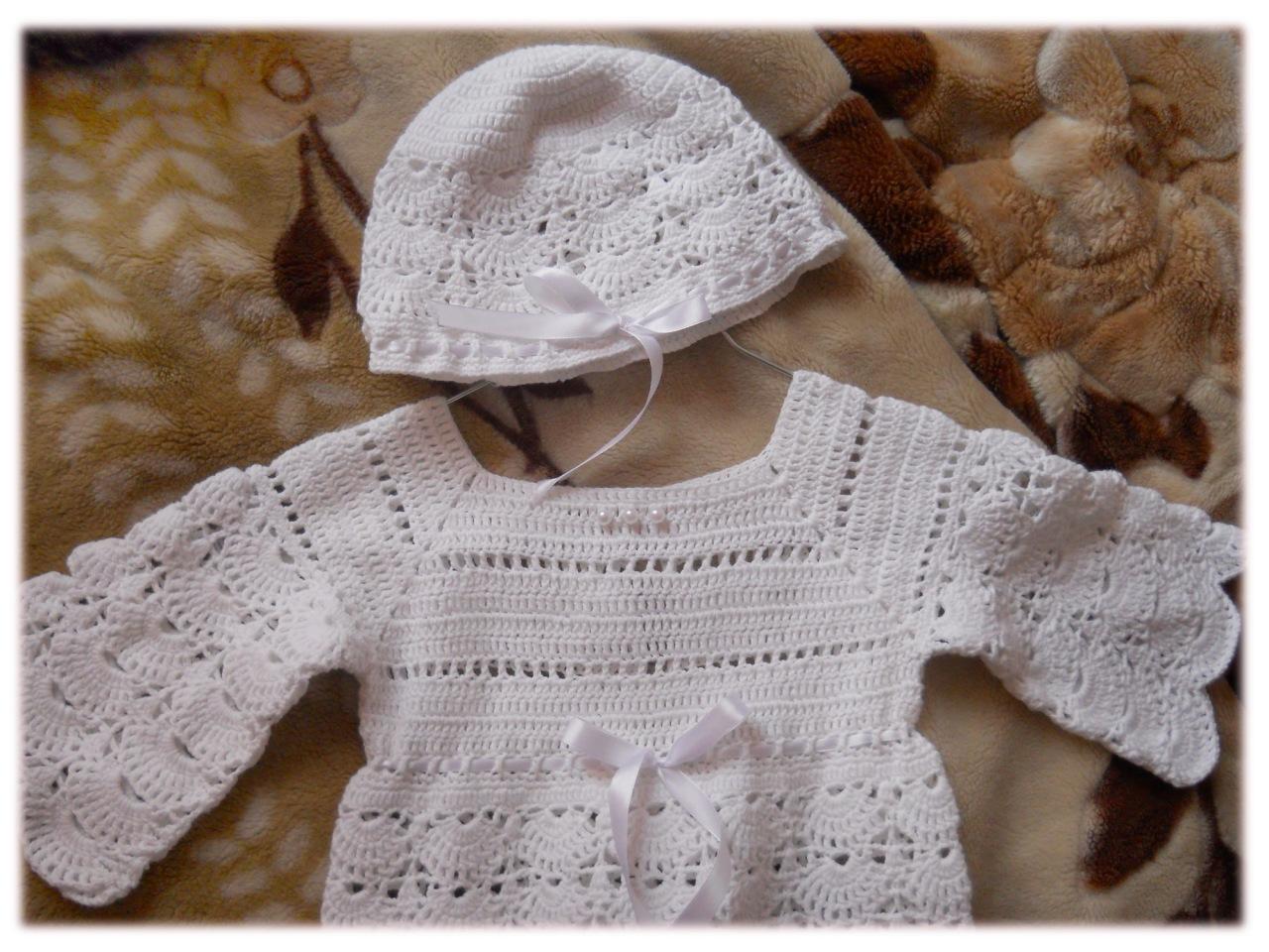 Вязанные платья для новорожденной схема