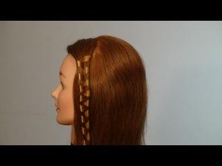 Косичка с лентой. Прическа за 2 минуты.  Ribbon braid hairstyle