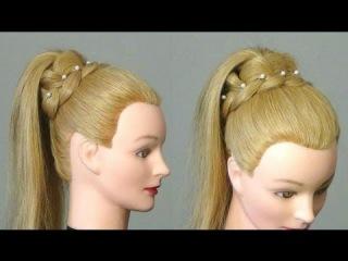 Прическа для длинных волос: Хвост с ажурной косой.