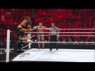 Daniel Bryan and AJ vs The Miz and Eve Torres WWE Raw 7/16/12