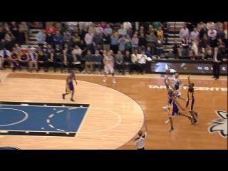 Kobe Hits Ricky Rubio's Arm On Game Tying 3 W/No Call