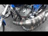 Kawasaki 750 crazy motorcycle dragbike exhaust system close up