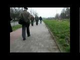Велосипедисты и пешеходы на велодорожке в Польше