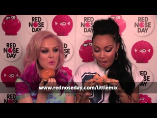 Little Mix are dared to eat sugared doughnuts without licking their lips | Red Nose Day 2013
