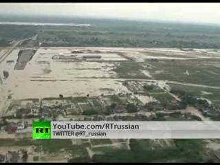 Аэросъемка района наводнения в Кубани