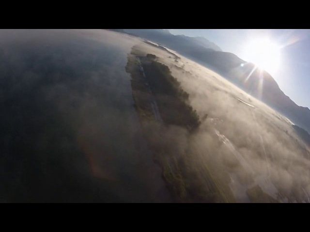 Flying over Pitt River and Widgeon Creek in BC, Canada