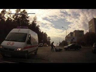Саров 22.09.2012 Мотоциклист отделался испугом.