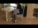 Sexy High Heels and seamed stockings at Home