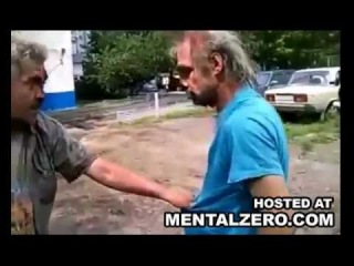drunk old russians get into a bloody fist fight