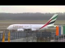 Emirates Airbus A 380 flight EK 050 take-off from Munich to Dubai - Winter market Munich Airport