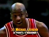 Michael Jordan Famous Eyes Closed Free Throw to Mutombo In Full