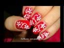 Дизайн ногтей Белый ажур на красном