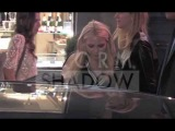The Olsen sisters Mary-Kate and Ashley night shopping in Paris