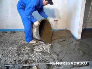 Видео с сайта www.rembrigada.ru стяжка пола из пескобетона