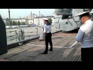 Залп с крейсера Михаил Кутузов осечка, съемка с палубы!