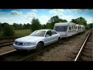 2011 Top Gear.s17e04.Jaguar red sport train vs Audi passenger train.Happy Station