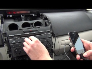 Установка Yatour (снятие магнитолы) - Mazda CX7 2007, 2008, 2009, 2010, 2011, 2012 install of iPhone, iPod and iPad adapter