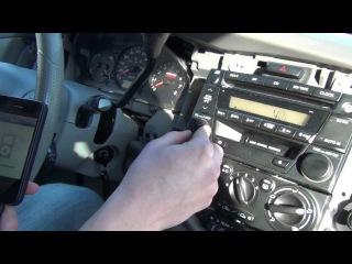 Установка Yatour (снятие магнитолы) - Mazda MPV 2002, 2003, 2004, 2005, 2006 install of iPhone, iPod, iPad and AUX adapter