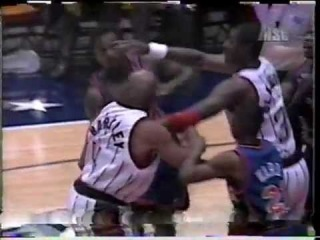 1996 Charles Barkley vs Charles Oakley fight in preseason game