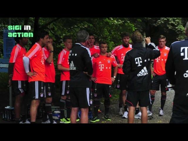 Shaqiri Dante Hautnah! FC Bayern München mit den Fahrrädern zum Waldlauf Training am 29.07.2012