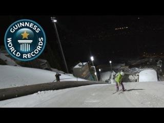Anders Backe поставил мировой рекорд Книги Гиннесса в скорости на горных лыжах, при этом он скатывался в задней стойке