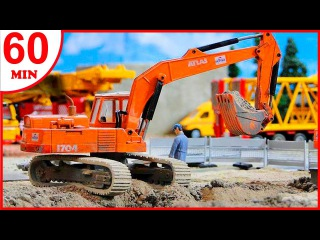 Diggers for children - The Excavator - Construction Trucks Video for Kids