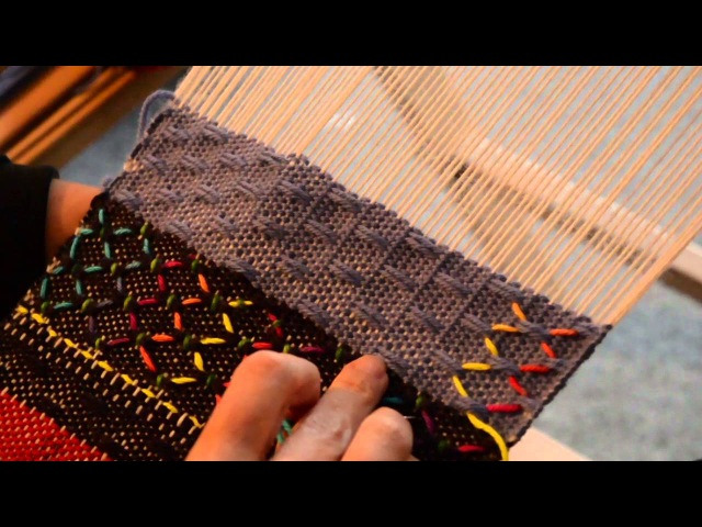 Surface embroidery on 51 Spot Lace for a Rigid Heddle Loom