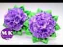 Мастер-класс Канзаши.Цветы Канзаши из атласных лент.Резинка для волос/Scrunchy. Kanzashi flower