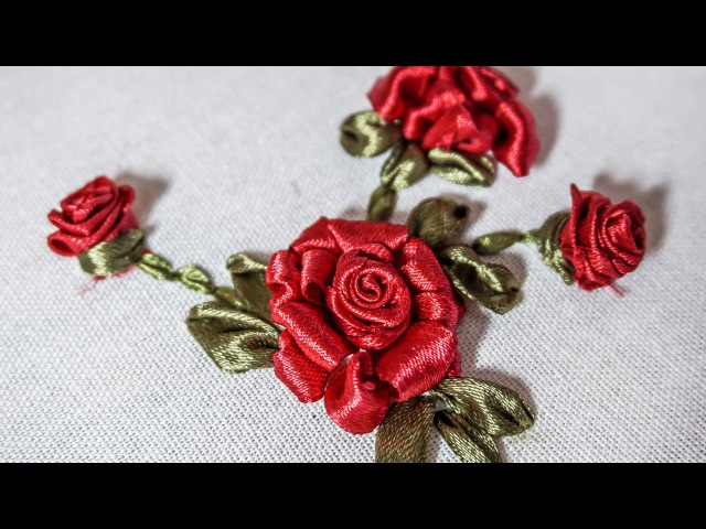 Ribbon Flowers|Red Roses|Embroidery Stitches by Hand|HandiWorks 73