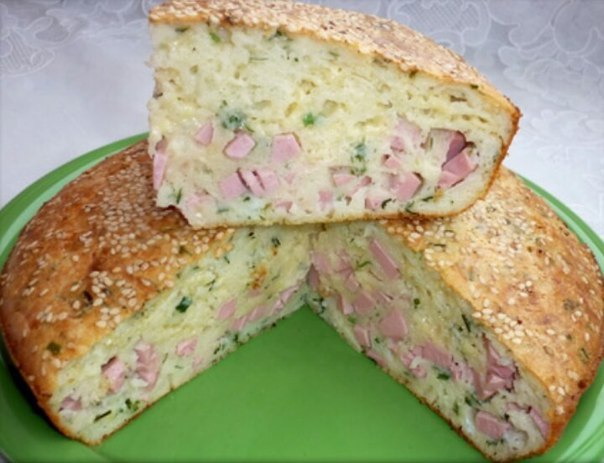 Пирог с колбасой и сыром в духовке рецепт с фото на молоке