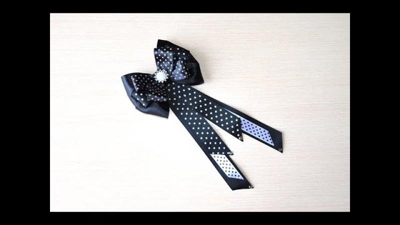 Галстук бабочка Мастер класс канзаши галстук на девочку DIY tie for girls handmade ネクタイ蝶 kanzashi