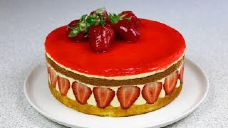 Клубничный торт Фрезье ✧ Fraisier Torte Fraisier Cake (English Subtitles)