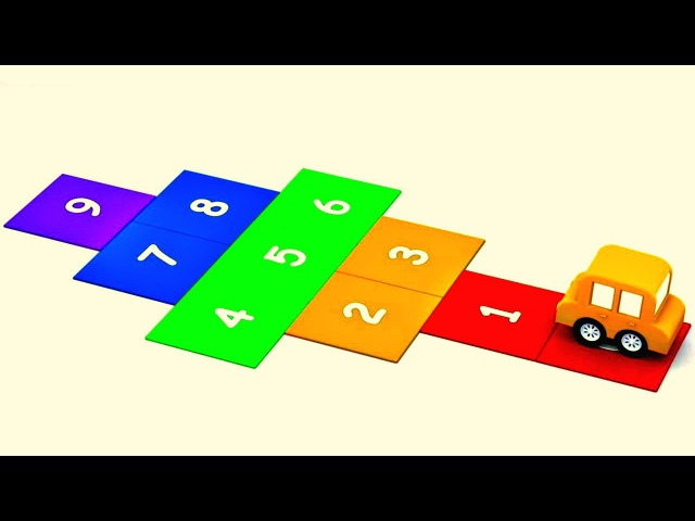 Cache-cache avec 4 voitures colorées. Dessin animé en français