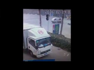 Biker Crashes into a small truck and gets a lift