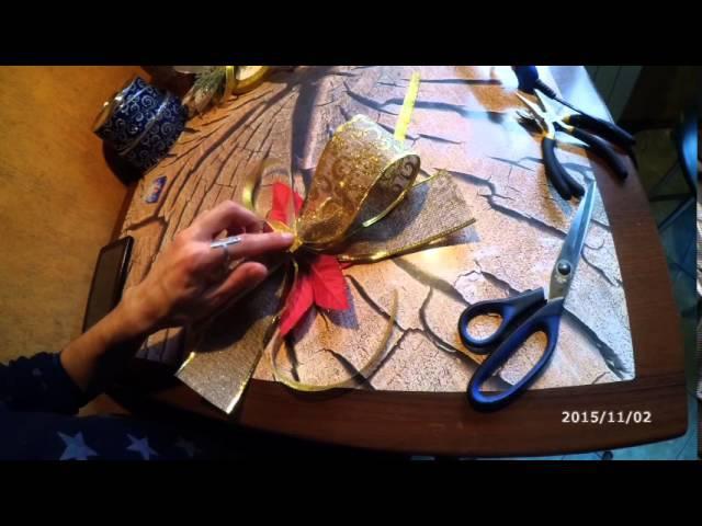 Как сделать новогодний бант How to make a Christmas bow