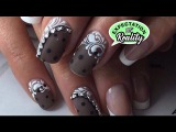 ❤️ Black nail art design with Lace Netting and Rhinestones DIY