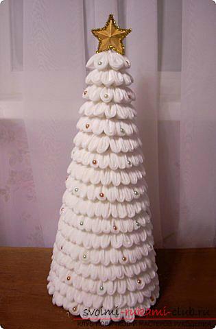 поделки на новый год своими руками в детский сад елка из ватных дисков - Самоделкины