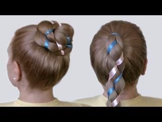 Косичка с Двумя Лентами на Длинные Волосы на Канале Прически Своими Руками Видео Урок 2014