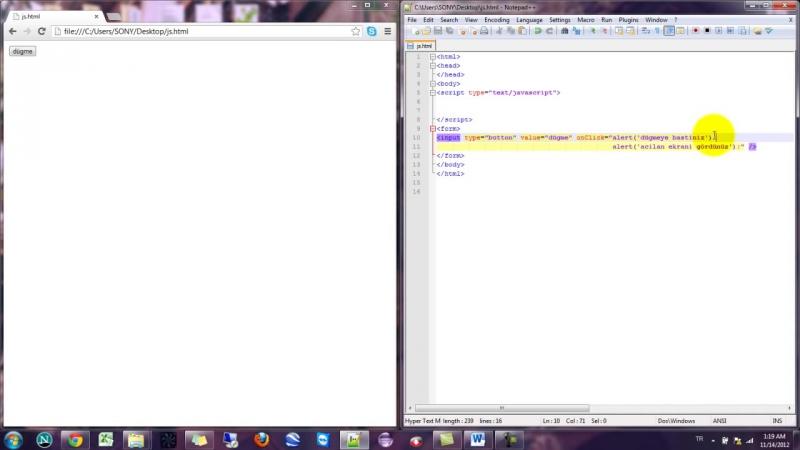 Yakın Kampüs - Javascript Ders 25 - Javascriptte EventHandlerlar-onClick Komutu