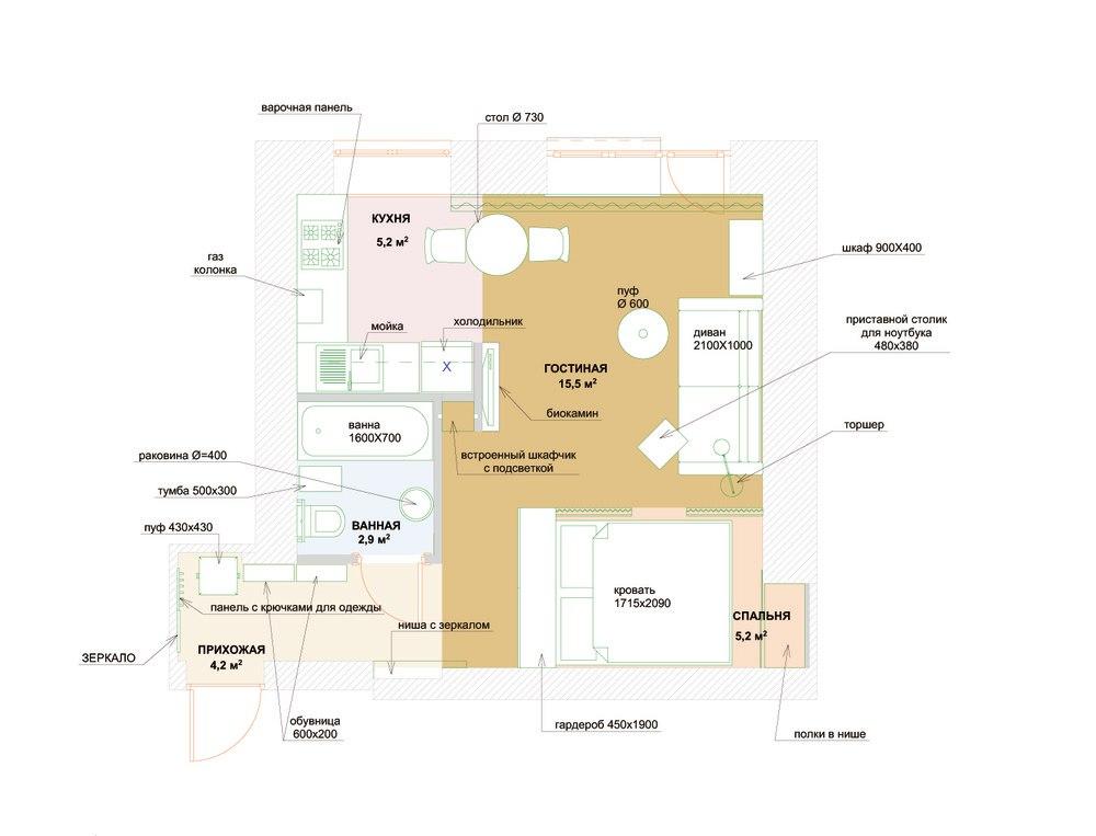 Концепт студии 33 м под лофт.