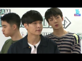Lay, Suho - Lady First @ 160703 EXOMENTARY LIVE: Bowling Competition (cr: BAEKTAEFUL)