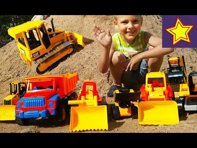 Про грузовые машинки на песке Экскаватор, грузовик, трактор, погрузчик Строим дорогу A lot of toys