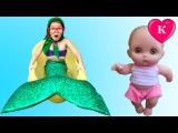 БАБУШКА ПРЕВРАТИЛАСЬ В РУСАЛКУ. Волшебное превращение в Русалку. Видео для детей