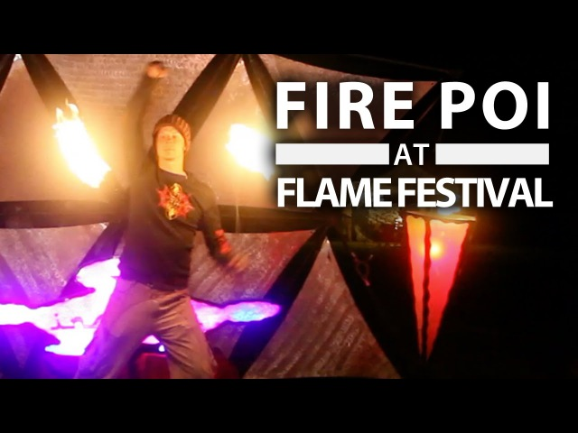 AMAZING Fire Poi Spinning - Drex at FLAME Festival 2016 w drone cam