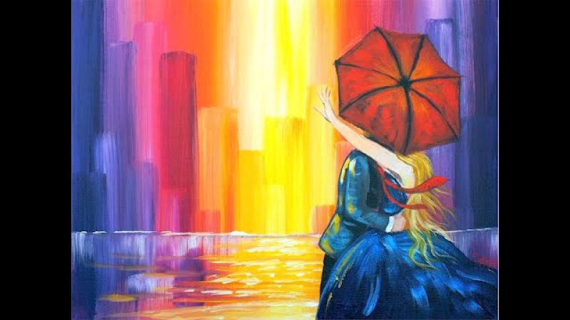 Lovers Kiss in the City | Learn to do Acrylic Painting for Beginners
