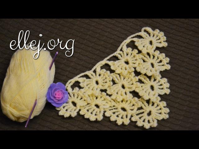 🔹 Шаль Бабочки-Снежинки крючком • Butterflies-Snowflakes crochet pattern.