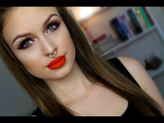 Warm smokey eye Orange lips tutorial Morphe 35O palette
