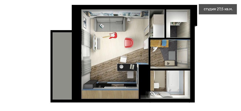 Проект студии 27,5 м от компании-застройщика Меридиан, Тобольск.